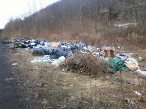 Tons of trash illegally dumped at the foot of the Avondale Mine Disaster Site in Plymouth Township along the Susquehanna Warrior Trail