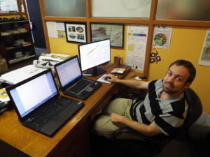 Paul Dunay III, EPCAMR's newest Staff member working on 3 screens on his first day as our GIS Technician under our recently funded Mine Map Grant