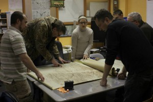 EPCAMR Staff and colleagues review underground abandoned mine maps from the Wyoming Valley.