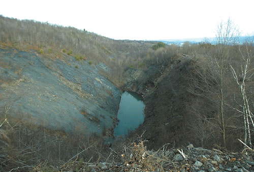 Open Avondale Pit mine, 400 foot deep hole, in Plymouth off of Jersey Road and Route 11. (Edward Pikulski)