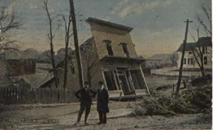 Postcard from 1914 showing a Hotel  being swallowed by a Hazelton Mine Collapse