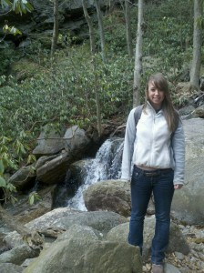 Elizabeth Rosser at Glen Onoko Falls on a hike.