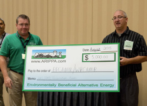Robert Hughes, EPCAMR Executive Director receives the $5000 check donation on behalf of EPCAMR/WPCAMR.