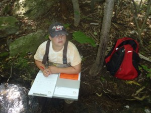 Dawson Hughes (age 10) assisting EPCAMR as a Water Quality Monitoring Volunteer on Sugar Notch Run in the Solomon Creek Watershed